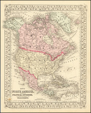 Map of North America Showing Its Political Divisions, and Recent Discoveries in the Polar Regions. By Samuel Augustus Mitchell Jr.