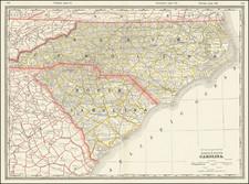 North Carolina and South Carolina Map By George F. Cram