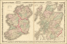 Scotland and Ireland Map By Alvin Jewett Johnson  &  Ross C. Browning
