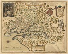 Mid-Atlantic, Maryland and Virginia Map By Jodocus Hondius II