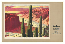 Arizona, Curiosities and Travel Posters Map By Southern Pacific Railroad Company / Fred Ludekens