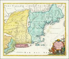 New England, New York State and Mid-Atlantic Map By Johann Baptist Homann