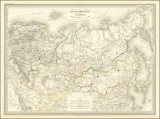 Russia and Russia in Asia Map By Adolphe Hippolyte Dufour