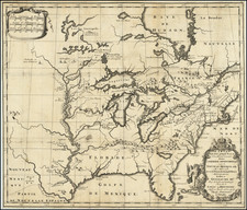 United States, Texas, Midwest and North America Map By Louis de Hennepin