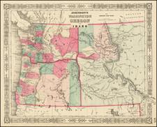 Idaho, Oregon and Washington Map By Benjamin P Ward  &  Alvin Jewett Johnson