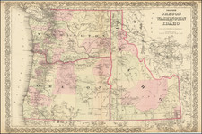 Idaho, Oregon and Washington Map By G.W.  & C.B. Colton