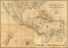 Texas, Mexico and Central America Map By N. Dally