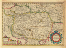 Central Asia & Caucasus, Middle East and Persia & Iraq Map By Jodocus Hondius