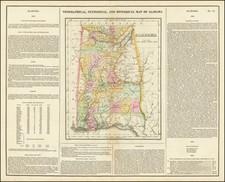 Alabama Map By Henry Charles Carey  &  Isaac Lea
