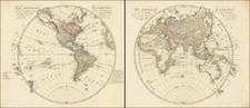 World, Eastern Hemisphere and Western Hemisphere Map By Daniel Friedrich Sotzmann