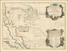 Texas, Southwest, Arizona, New Mexico and California Map By Vincenzo Maria Coronelli / Jean-Baptiste Nolin