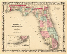 Florida Map By Alvin Jewett Johnson  &  Benjamin P Ward