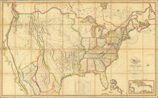 United States and Midwest Map By John Melish