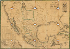 United States, Texas, Southwest, Mexico and California Map By