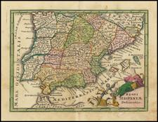 Spain Map By Adam Friedrich Zurner / Johann Christoph Weigel