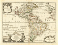 North America, California as an Island and America Map By Nicolas de Fer