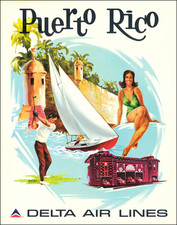 Puerto Rico and Travel Posters Map By Frederick Sweeney / Delta Air Lines