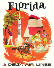 Florida and Travel Posters Map By Frederick Sweeney / Delta Air Lines