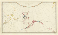 Alaska, Pacific, Russia in Asia and Canada Map By James Cook