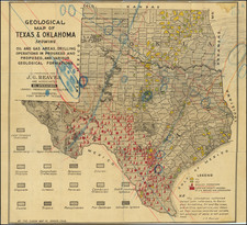Texas, Oklahoma & Indian Territory and Geological Map By The Clason Map Company