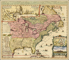 United States, South, Midwest and Canada Map By Henri Chatelain