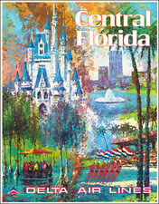 Florida and Travel Posters Map By Delta Air Lines / Jack Laycox