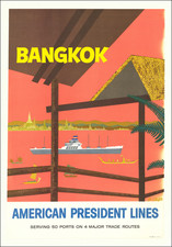 Thailand, Cambodia, Vietnam and Travel Posters Map By J. Clift / American President Lines