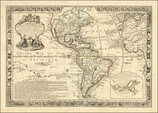 North America and America Map By Louis Charles Desnos / Guillaume Danet