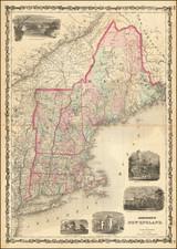 New England, Maine, Massachusetts, New Hampshire, Rhode Island and Vermont Map By Alvin Jewett Johnson  &  Ross C. Browning