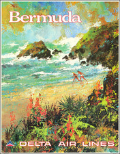 Bermuda and Travel Posters Map By Delta Air Lines / Jack Laycox