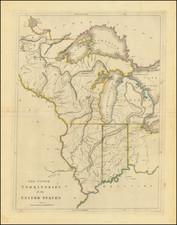 Midwest, Illinois, Indiana, Michigan and Plains Map By Mathew Carey