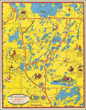 Minnesota and Pictorial Maps Map By W. A. Fisher Company