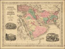 Middle East and Arabian Peninsula Map By Alvin Jewett Johnson  &  Benjamin P Ward