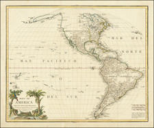 Hawaii, South America, Pacific, Hawaii, California and America Map By Tomás López
