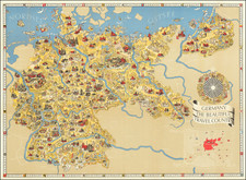 Pictorial Maps, World War II and Germany Map By