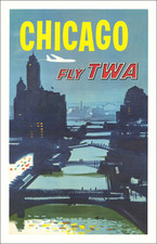 Chicago and Travel Posters Map By Trans World Airlines / Austin Briggs