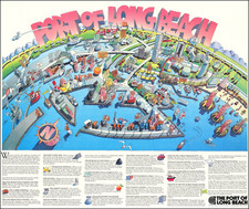 Pictorial Maps, Los Angeles and Other California Cities Map By Port of Long Beach