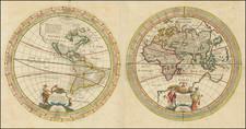 World, Eastern Hemisphere and Western Hemisphere Map By Melchior Tavernier