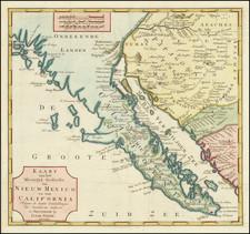 Arizona, Mexico, Baja California and California Map By Isaak Tirion