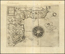 New England, New York State, Mid-Atlantic, Southeast and Virginia Map By Johannes Matalius Metellus