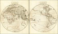 World, Eastern Hemisphere, Western Hemisphere and California as an Island Map By Giovanni Battista Nicolosi