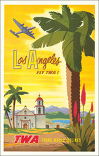 Los Angeles, San Diego and Travel Posters Map By Bob Harmer Smith / Trans World Airlines