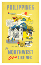 Philippines and Travel Posters Map By Northwest Airlines