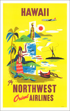 Hawaii, Hawaii and Travel Posters Map By Northwest Airlines