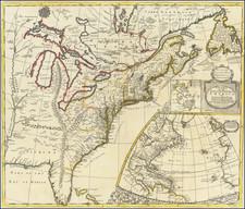 United States, New England, Mid-Atlantic and Southeast Map By John Senex