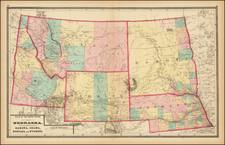 Nebraska, North Dakota, South Dakota, Idaho, Montana and Wyoming Map By Walling & Gray