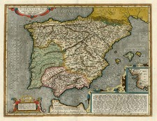 Europe, Spain, Portugal and Balearic Islands Map By Abraham Ortelius