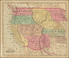 Texas, Plains, Southwest, Rocky Mountains and California Map By Sidney Morse