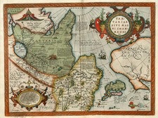 Asia, Japan, Central Asia & Caucasus and California Map By Abraham Ortelius