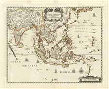 China, Japan, India, Southeast Asia, Philippines, Indonesia, Thailand, Cambodia, Vietnam, Other Islands and Australia Map By Pierre Mariette